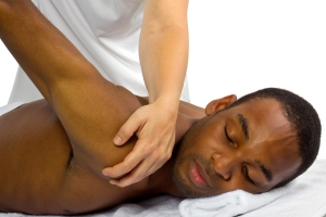 Young man receiving a back massage